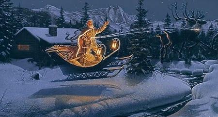 Moonlit Flight on Christmas Night - Stephen Lyman