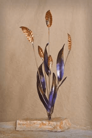Copper Wheat metal sculpture by Richard Czyhold, Wenaha Gallery guest artist