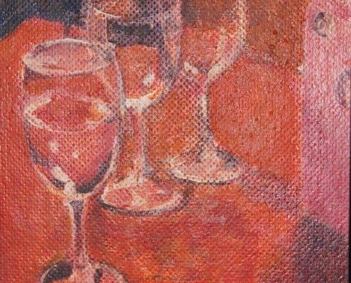 Wine Glasses, original acrylic painting by Wenaha Gallery guest artist Pat Fleming