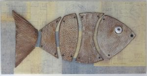 Fractured Fish ceramic wall art by Rose Quirk