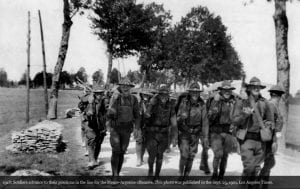 Marching to the front, World War I.