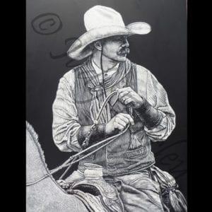Wrangler, scratchboard by Judy Fairley