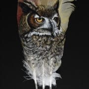 Great Horned Owl painting on feather, by Wenaha Gallery guest artist Deborah Otterstein