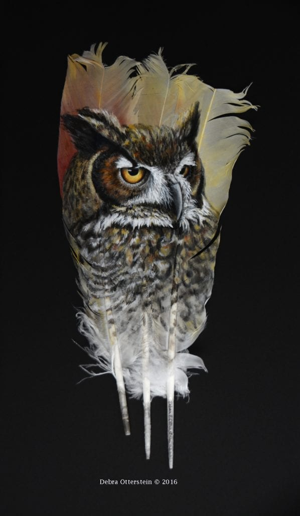 Great Horned Owl painting on feather, by Wenaha Gallery guest artist Debra Otterstein