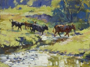 Cattle Fording river stream original oil painting by Sonya Glaus