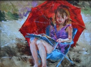 Girl sitting in chair with a red umbrella original oil painting by Sonya Glaus