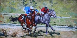Racing man on horse at tracks original oil painting by Sonya Glaus