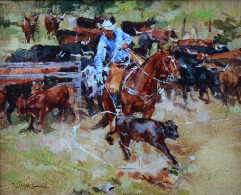 Cowboy on horse roping calf by Sonya Glaus
