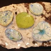 Ceramic leaf dishes by Jane Holly Estrada
