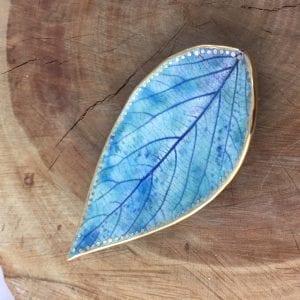 Gold bordered blue ceramic leaf (leaves) dish by Jane Holly Estrada