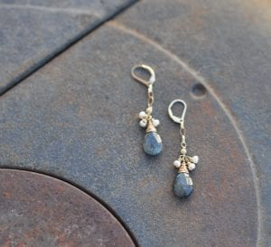 Grey Faceted Hawks Eye Drops earrings by Rachelle Moore
