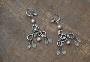 Fine silver vine chandelier earring with phrenite bunches by Rachelle Moore