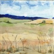 Blues, encaustic painting by Walla Walla painter Lauri Borer, guest artist at Wenaha Gallery