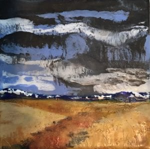 Nailed It, Encaustic landscape painting by Walla Walla painter Lauri Borer
