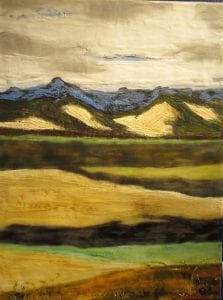 Who'll Stop the Rain Encaustic landscape painting by Walla Walla artist Lauri Borer