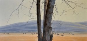 Behind Tree landscape oil painting todd telander walla walla