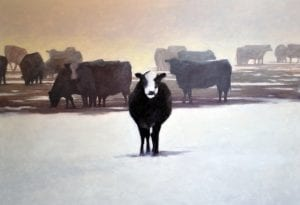Cows in the Snow Todd Telander oil painting walla walla landscape
