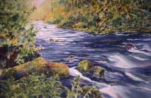 abundance watercolor river stream nature barbara janusz