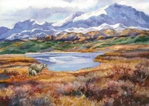 denali watercolor dream alaska barbara janusz landscape