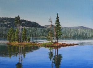 morning waldo lake original painting david schatz out of the office cubicle