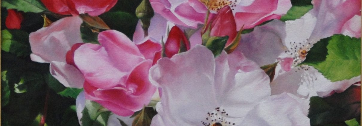 Pink Roses out of office cubicle painting David Schatz Portland