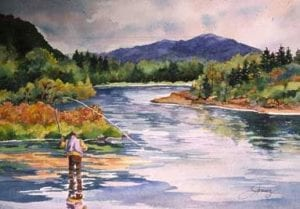 fly fishing clark fork watercolor dream painting Barbara Janusz