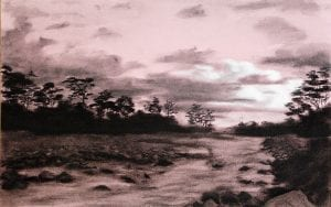 Colombia lowland grassland llanos charcoal drawing