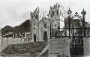 colombia church humilladero pamplona colombia charcoal drawing
