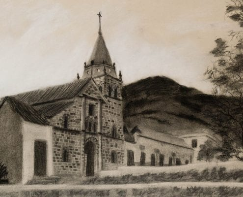 colombia church charcoal drawing Jordan Henderson Wenaha Gallery