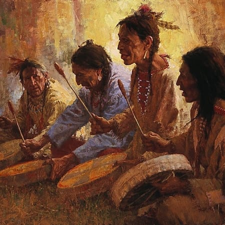 Four Sacred Drummers - Howard Terpning