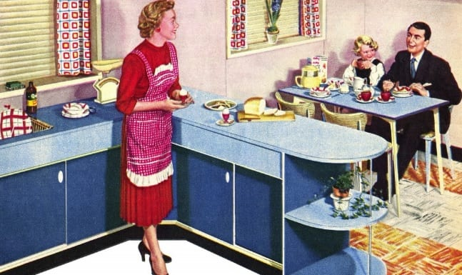 1950s home in formica ad trendy fashion of 1950s