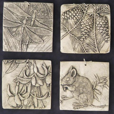 garden tiles nature theme wilburton pottery