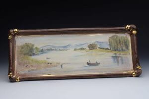ceramic painted landscape pottery platter mary briggs
