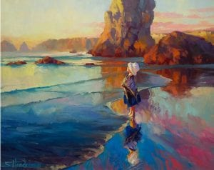 update bold innocence girl at beach coast ocean steve henderson art painting