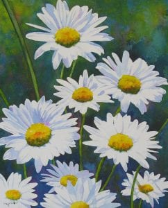 shasta daisy flowers colorful impressionist watercolor painting Maja Shaw