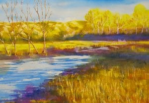 Golden River southeast washington landscape watercolor maja shaw