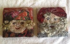 felted wool santa squares felt artist linnea keatts