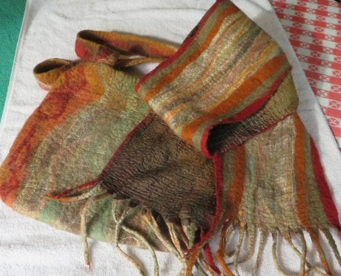 felted wool scarf with silk highlights linnea keatts felt artist
