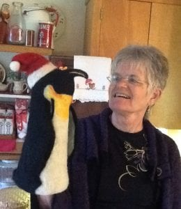 wool felt artist linnea keatts and felted penguin