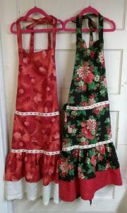 holiday themed nostalgic hand sewn aprons by kathy snow