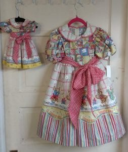 matching doll and girl frilly dresses by sewist kathy snow