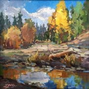 Teanaway River oil painting landscape laura gable