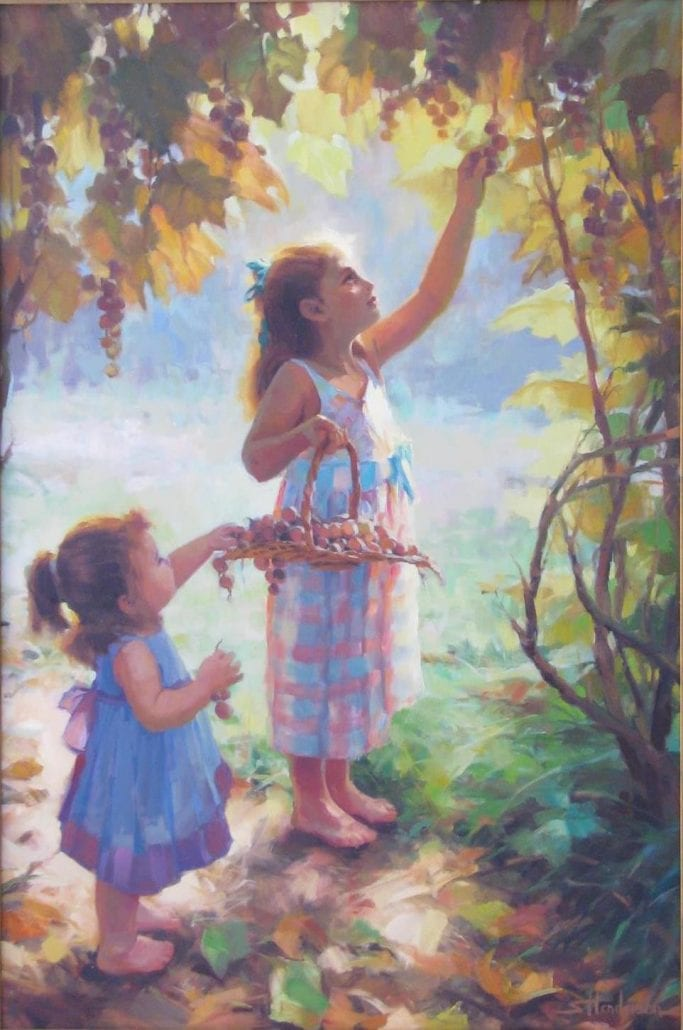 harvesters two sisters children picking autumn grapes steve henderson