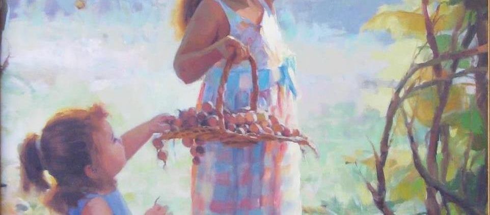 harvesters two sisters children picking autumn grapes steve henderson