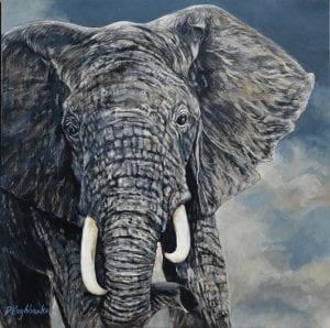 serengeti african wildlife elephant debbie hughbanks painting