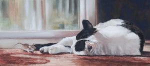 sleeping on job cat feline painting debbie hughbanks