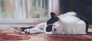 sleeping on job cat feline painting debbie hughbanks