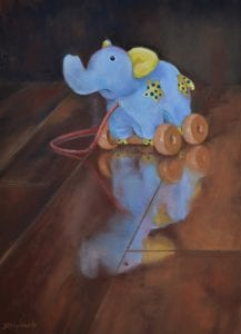 long forgotten childhood baby pull toy blue elephant debbie hughbanks