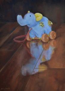 long forgotten childhood baby pull toy blue elephant debbie hughbanks