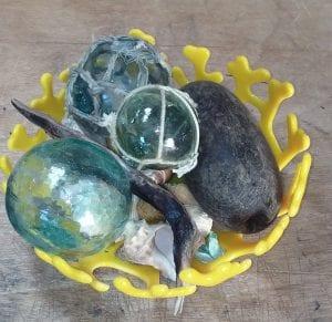yellow fusion glass coral lace bowl gregory jones costalota Pasco